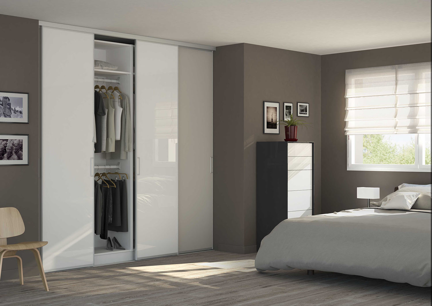porte de placard en verre laqu mate ou brillante. Black Bedroom Furniture Sets. Home Design Ideas